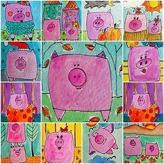 Cute pig art to match with story book Peppa Pig Kindergarten Art Lessons, Art Lessons Elementary, Square 1 Art, 2nd Grade Art, Grade 3, Creation Art, Pig Art, Tech Art, Farm Art