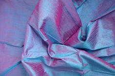 Silk Dupioni in Cerulean Blue and Magenta