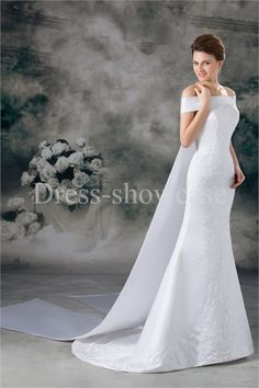Amazing Satin Mermaid/ Trumpet Silhouette Embroidery Beaded Wedding Dresses #wedding #weddinggown #weddingdress #dress #fashion #bigday #womenfashion #womenwear #2015wedding