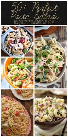 50+ Perfect Pasta Salads ~ You name it we have it! Everything from vegan to meat lovers, these pasta salads will spice up your summer. ~ http://www.julieseatsandtreats.com