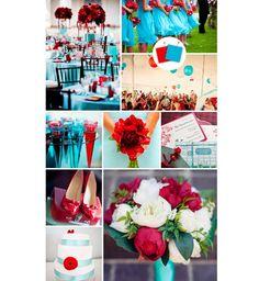 Vermelho e azul claro para a decoração do casamento
