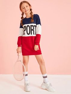 Girls Letter Print Colorblock Sweatshirt Dress - - Source by Preteen Girls Fashion, Teenage Girl Outfits, Dresses Kids Girl, Girls Fashion Clothes, Kids Outfits Girls, Cute Girl Outfits, Teen Fashion Outfits, Cute Casual Outfits, Cute Dresses