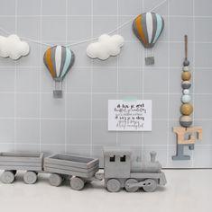 Slinger luchtbalonnen grijs-okergeel-mint-wit Jaba, Hanger, Nursery, Toys, Design, Geluk, Diaper Cakes, Stage, Ideas
