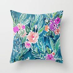 NAVY PARADISE FLORAL Throw Pillow