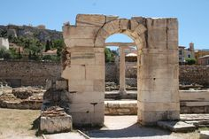 Archway ruin at the Library of Hadrian, foundations of what was once a cultural center (library, lecture halls, garden and art gallery), built by the Greek-loving Roman emperor for the Athenian citizens. Entrance Ways, Roman Emperor, Cultural Center, Walkway, Arches, Mount Rushmore, Greece, Art Gallery, Doors