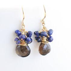 Smoky Quartz Dangle Earrings Sapphire Cluster Earrings by NansGlam