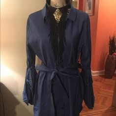 This fabulous new arrival is a great denim dress New  button denim dress fits  snug denim dress long bell sleeves  cones with belt and fully of fabulousness 🚫trades prices is firm but will consider reasonable offers Dresses Midi