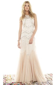 Needle & Thread Tulle V-Cut Gown in Cream & Dust Pink | REVOLVE