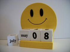Happy Face Calendar Perpetual Wood Block Yellow Happy Face Retro Decor This calendar can be used year after year and makes a perfect gift for