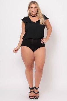Plus Size Crepe Satin Ruffle Bodysuit - Black - Curvy Sense Curvy Plus Size, Plus Size Women, Classy Girl, Black Bodysuit, Real Women, Mike Craft, Latest Trends, Lingerie, Clothes For Women