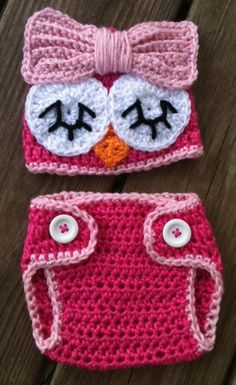 Baby Toddler Girl HOT PINK Crochet Sleepy OWL Beanie by shayahjane, $24.00