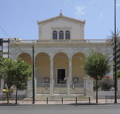Cathedral Basilica of St. Dionysius the Areopagite Hotel King, Cathedral Basilica, Roman Catholic, Catholic Churches, Athens Greece, Architecture, Mansions, House Styles, King George
