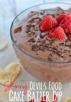 This quick and easy Skinny Devil's Food Cake Batter Dip made with Greek yogurt tastes just like cake batter!