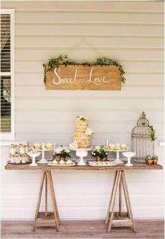 Rustic dessert table at a wedding party! See more party planning ideas at Catch. Wedding Signs, Wedding Table, Rustic Wedding, Party Wedding, Wedding Backyard, Trendy Wedding, Wedding Simple, Wedding Blog, Backyard Engagement Parties