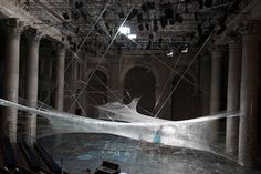 Spider Web Installation Made of Packaging Tape 5