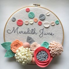 Custom Embroidery Hoop Art, Wall Art, Baby Shower Gift, Nursery Room Decor, Confetti Garland, Pink, Grey, Coral, Peach and Mint This hoop art is made with cream colored felt, and handmade flowers and confetti garland. The background is stretched onto a 10-inch wooden embroidery hoop . The Embroidery Hoop Nursery, Wooden Embroidery Hoops, Embroidery Hoop Art, Vintage Embroidery, Custom Embroidery, Embroidery Patterns, Embroidery Supplies, Embroidery Stitches, Learn Embroidery