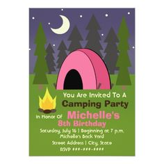 Camping Birthday Party Invitations Pink Tent Camping Birthday Party Invitation