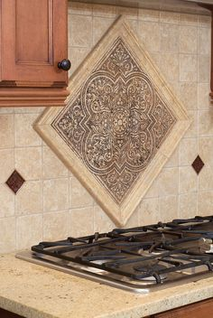 accent tile piece instead of traditional backsplash in kitchen is a really beautiful statement Kitchen Redo, Home Decor Kitchen, Kitchen Backsplash, Home Kitchens, Kitchen Design, Backsplash Ideas, Tile Ideas, Rustic Kitchen, Holz Wallpaper