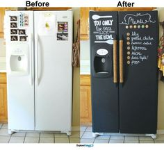 Chalk paint a fridge.