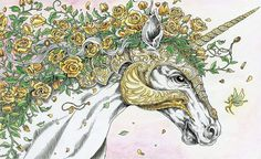 Magical Mystical Unicorn from #Mythomorphia coloured by Janine Grundler