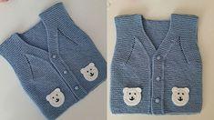 Ayı Motifli Örgü Kolay Bebek Yeleği Yapımı Baby Mittens, Knit Vest, Baby Knitting Patterns, Sweaters, Google, Fashion, Sweater Vests, Tejidos, Bears