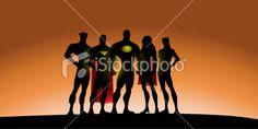 Superhero Team Silhouette Royalty Free Stock Vector Art Illustration