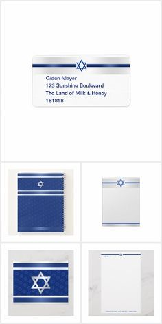 Writing Notebook, Notebook Design, Personalized Stationery, Zazzle Invitations, Addressing Envelopes, Star Of David, Return Address Labels, Letterhead, Silver Stars