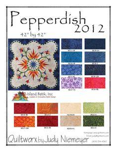"Pepperdish by Judy Niemeyer of Quiltworx using Island Batik's ""Batik Essentials"""