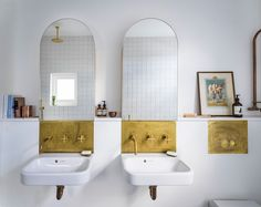 Minimal bathroom fittings as part of the Vault House project by Studio Ben Allen. Home Interior, Bathroom Interior, Interior Design, Brass Bathroom, Modern Interior, Brick Archway, Victorian Terrace House, Cosy Home, Arch Mirror