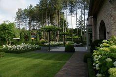 Een strakke tuin herken je aan de zuivere lijnen en de grote, groene vlakken met…