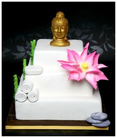 Zen cake with pink Lotus by taart van Bianca