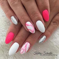 23 Creative Ways to Wear Pink and White Nails Trendy Pink Marble Nails Pink White Nails, White Nail Art, Pink Nails, My Nails, Fancy Nails, Drip Nails, Dipped Nails, Marbled Nails, Marble Nail Designs