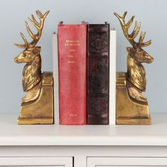 Grand Antique Gold Gentlemans Stag Bookends - bookends