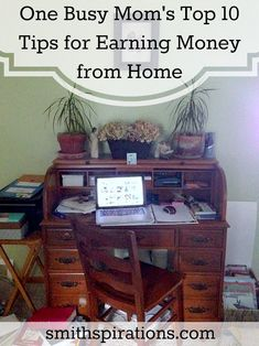 """One busy mom's top 10 tips for earning money from home:  """"A couple of years ago I transitioned from being a stay-at-home-mom-who-gets-paid-in-love-and-snuggles to a stay-at-home-mom-who-also-does-work-from-home-for-a-paycheck-with-dollar-signs. I definitely don't have it all figured out, but I have learned that there are some things that work, and some that just don't when working from home."""" WAHM Ideas #WAHM #workathome #workathomemom"""