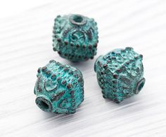 Large Bali Beads, Rustic Beads, Filigree Beads, Copper with Green Patina, Metal Casting, Mykonos Greek, 14 x 14 mm, 2 Pc - MK270 by TreeTerracom on Etsy