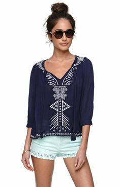 Kirra Peasant Top in navy | small