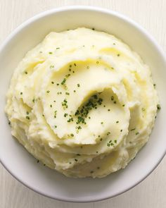 This staple of the Thanksgiving table -- and many other meals beside -- is enriched with garlic and chives. Using a ricer will make mashed potatoes even fluffier. Read more about how to make mashed potatoes.