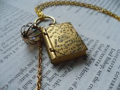Book Locket Necklace  Old  Opens  Jitter bug  Hi  by DreamAddict, $20.00