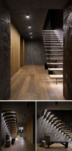 The front hallway in this modern apartment is a mix of concrete and wood which ties into the rest of the home. The hallway is simplistically lit, and each wooden step of the wood and steel staircase leading upstairs is individually lit.