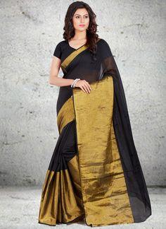 Black woven Work Cotton   Casual Saree