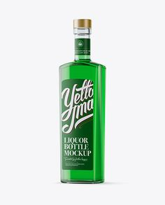 500ml Square Clear Glass Absinthe Bottle Mockup – Half Side View
