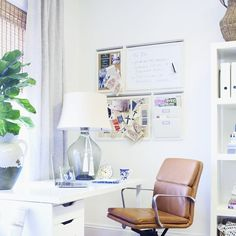 Hello #homeofficeinspiration: We're loving how @elementstyle used our Nash Leather Chair, Clift Lamp, Daily System + more in her new office. Click the link in our bio to see the rest of this space! #brightandlight #mypotterybarn