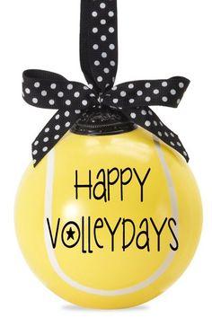 Happy Volleydays - Tennis Ball Ornament - 2014