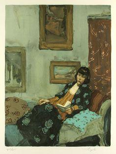 ✉ Biblio Beauties ✉ paintings of women reading letters & books - Malcolm Liepke | Woman Reading, 1991