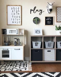 modern farmhouse playroom with play kitchen cubby storage and kid wall decor ideas, black and white kid playroom design, kid playroom decor ideas, playroom organization for kid room, kid room decor Playroom Wall Decor, Modern Playroom, Toddler Playroom, Playroom Organization, Playroom Design, Small Playroom, Playroom Ideas, Trofast Ikea, Kids Storage