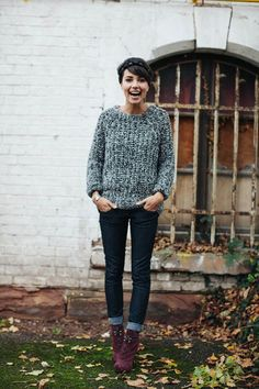 grey chunky knit sweater + skinnies + ankle boots + grey socks