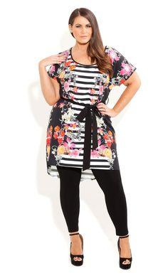 Plus Size Parisian Stripe Tunic - City Chic - City Chic