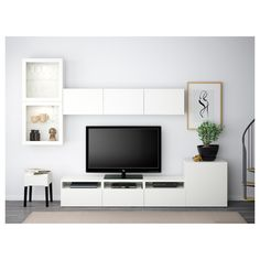 IKEA BESTÅ, TV storage combination glass doors, white, Selsviken high gloss white clear glass, The drawers have integrated push openers so that you can open them with just a light push. The space saving wall cabinets make the most of the wall area above Ikea Living Room, Living Room Trends, Living Room Furniture, Design Ikea, Küchen Design, Interior Design, Ikea Tv, Tv Storage, Storage Spaces