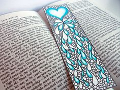 Original Art Bookmark, Heart Illustration, Valentine's Gift Idea, Zentangle Inspired Art