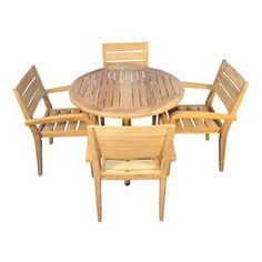 """Indoor/outdoor teak dining table with four stacking arm chairs.   Product: Table and 4 chairsConstruction Material: TeakColor: BrownDimensions: 34"""" H x 36"""" Diameter (table)Note: Assembly required"""